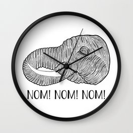 Elephant NOM! NOM! NOM! White Background Wall Clock