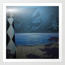 Cape Lookout Lighthouse and Pirate Art Print