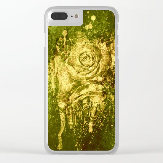 golden rose on green Clear iPhone Case