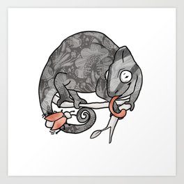 Chameleon & Fly , Funny Wild Animal Illustration, Black & White with Rose Gold Metallic Accent Art Print