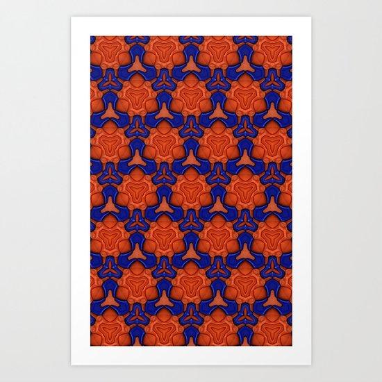 Pattern - Blue/Orange Art Print