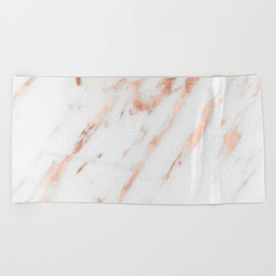 Pink Quartz Marble Rose Gold White Beach Towel