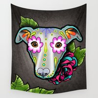 greyhound Wall Tapestries featuring Day of the Dead Whippet - Greyhound Sugar Skull Dog by Pretty In Ink