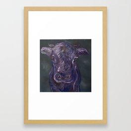 Purple Monochrome Cow Framed Art Print