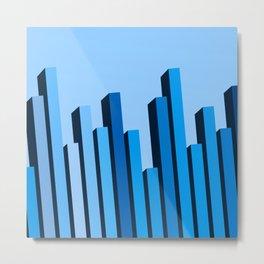 Blue Buildings - Abstract Art Metal Print