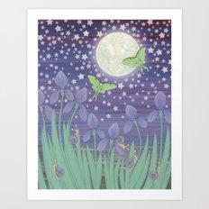 Moonlit stars, luna moths, snails, & irises Art Print