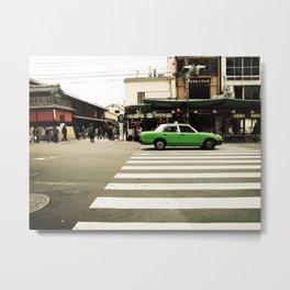 Green Taxi Metal Print