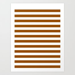 Narrow Horizontal Stripes - White and Brown Art Print