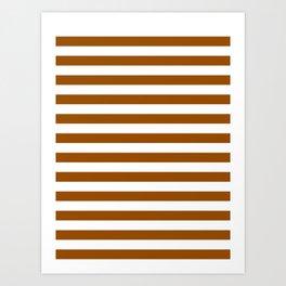 Narrow Horizontal Stripes - White and Brown Art Print