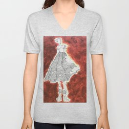 Gesture Lady in Dress, Red Unisex V-Neck
