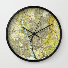 Vintage Map of Asheville North Carolina (1943) Wall Clock