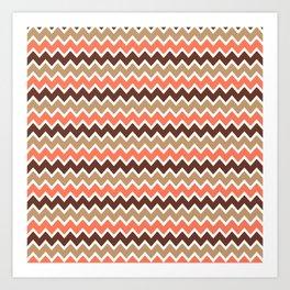 Coral Orange and Brown and Tan Chevron Art Print