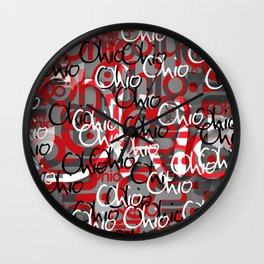 Ohio Scarlett & Gray Day Wall Clock