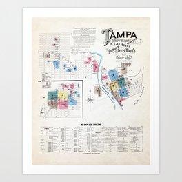 Vintage Tampa Florida Map Art Print