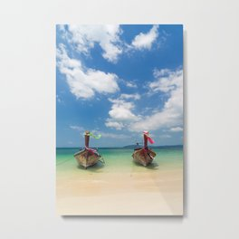 Long tail boats on the beach in Thailand Metal Print
