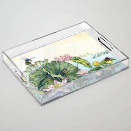 Japanese Water Lilies and Lotus Flowers Acrylic Tray