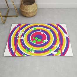 Circle Square Optical Deception Gift Colorful Rug