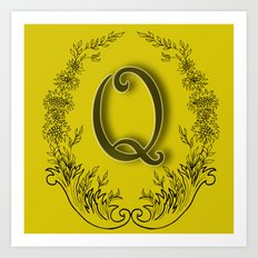 letter Q in a wreath of flowers Art Print