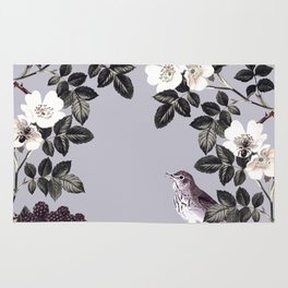 Birds and the Bees Blue Gray Rug