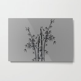 bamboo Tree black Graphic grey Metal Print