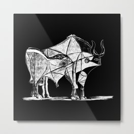 Picasso's Bull Black Metal Print