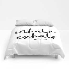 Inhale Exhale black and white contemporary minimalism typography print home wall decor bedroom Comforters