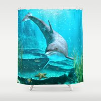 dolphin Shower Curtains featuring Dolphin by Simone Gatterwe