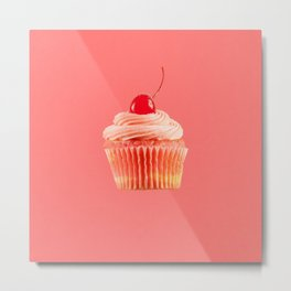 Cupcake Love | Pink with a Cherry on Top Metal Print