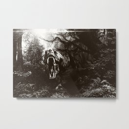 T-rex attack Black edition Metal Print