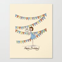 happy birthday Canvas Prints featuring Happy Birthday by Naomi VanDoren