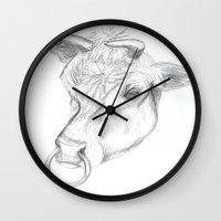 bull Wall Clocks featuring Bull by Kate Burton