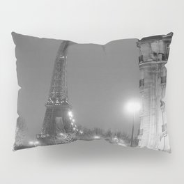 Eiffel Tower, Lighted at Night, Paris, France city lights black and white photography / photograph Pillow Sham