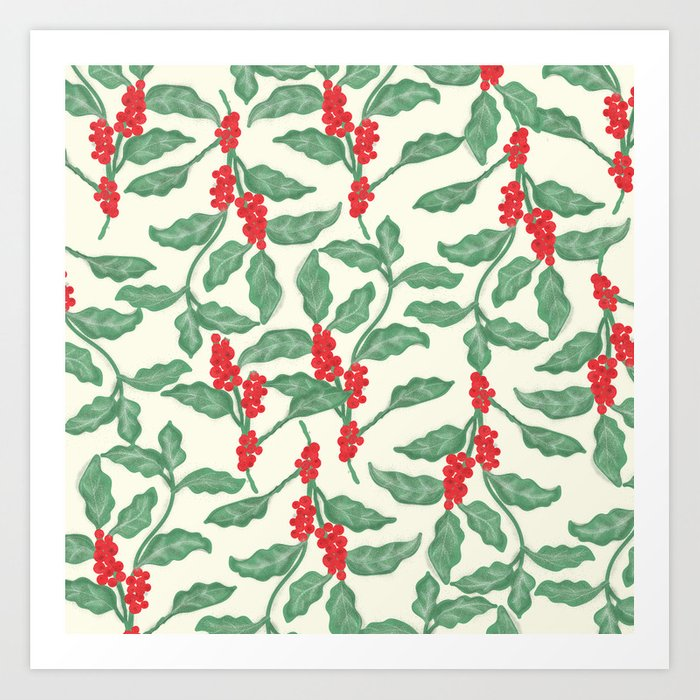 Coffee Plant Pattern Art Print