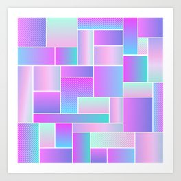 Abstract Holographic Pastel Pattern Art Print