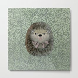 Cute Baby Hedgehog Metal Print