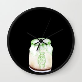 Bear Pudding, Japanese conbini sweets illustration Wall Clock
