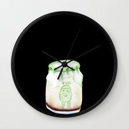 Bear Pudding, Japanese conbini sweets illustration Wall Clock