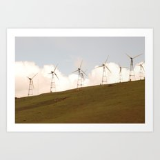8 Turbines on the horizon Art Print