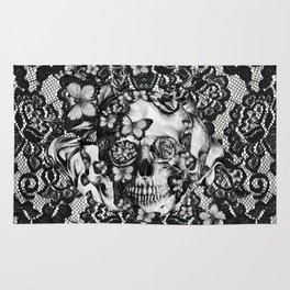 Rose skull on black lace base. Rug