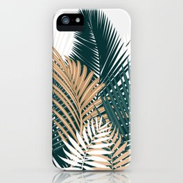 Gold and Green Palm Leaves iPhone Case