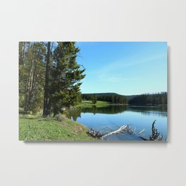 Peaceful Morning At Yellowstone River Metal Print
