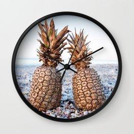 Gold Pineapples Wall Clock