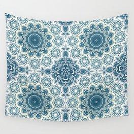 Creamy and blue mandala pattern Wall Tapestry