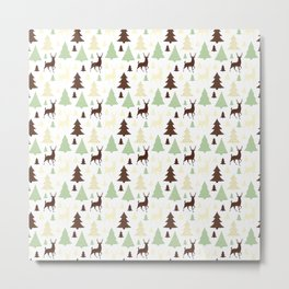 Reindeer Christmas Tree Jungle Metal Print