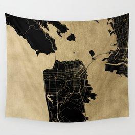 San Francisco California Black and Gold Map Wall Tapestry