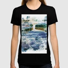 Abstract rock pool in the rough rocks T-shirt
