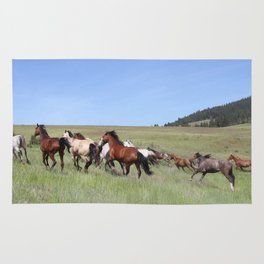 Running Horses Photography Print Rug
