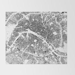 Paris Map Schwarzplan Only Buildings Throw Blanket