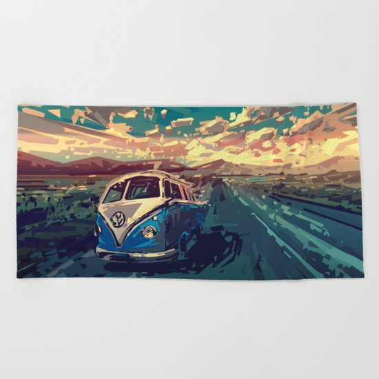 sunset desert landscape Beach Towel