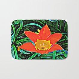 Flower of Enchanted Orange Flow Bath Mat